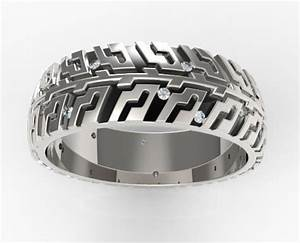 mens tire tread diamond wedding band unique design With tire track wedding rings