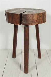 Rustic, Wood, Block, Tall, Side, Table, At, 1stdibs
