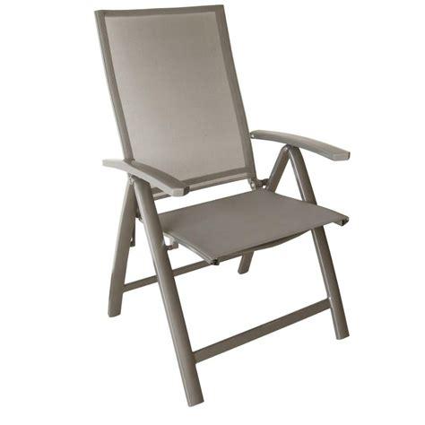 fauteuil de cing pliant fauteuil pliant multipositions palma en alu et textil 232 ne coloris taupe sand taupe proloisirs