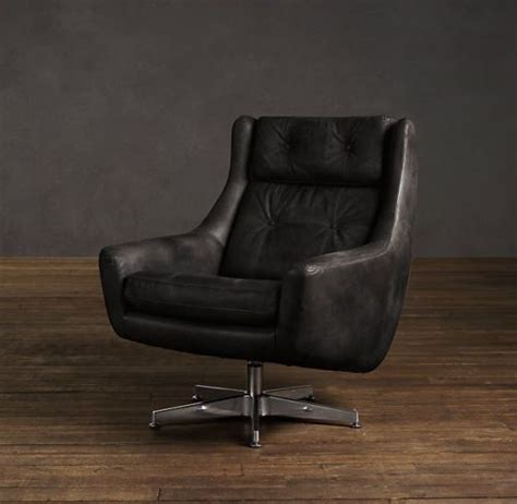 brand new restoration hardware motorcity leather swivel