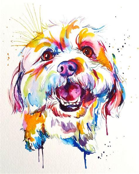image  large custom watercolor splash pet portrait