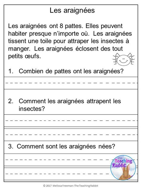 french reading comprehension passages questions
