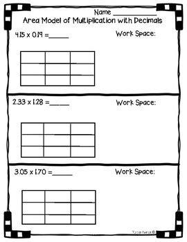 5 nbt b 7 area model with multiplication of decimals worksheet practice