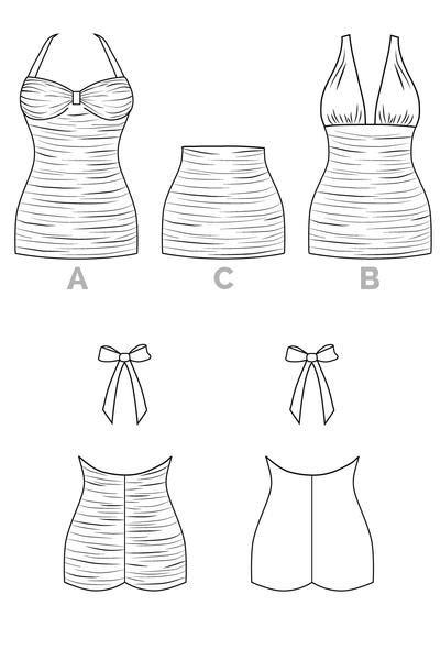 bombshell swimsuit pattern halter maillot bikini