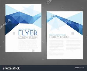 blue polygonal line brochure template flyer background With paper ad design templates