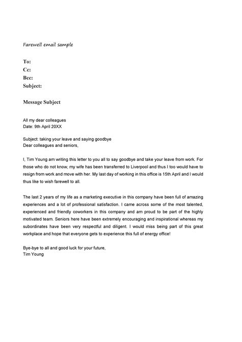 Farewell Letter To Colleagues - Sample Resignation Letter
