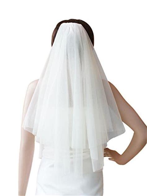 Alicepub 2 Tiers Simple Wedding Veil Fingertip Length