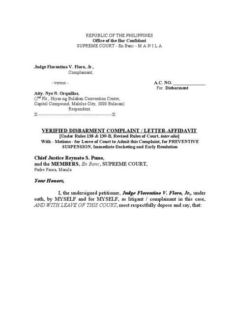 VERIFIED DISBARMENT COMPLAINT | Lawsuit | Complaint