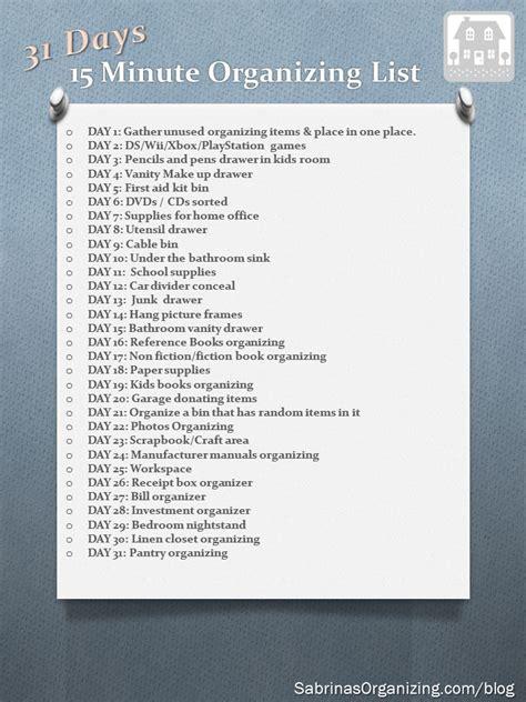 days  minute organizing list organization lists
