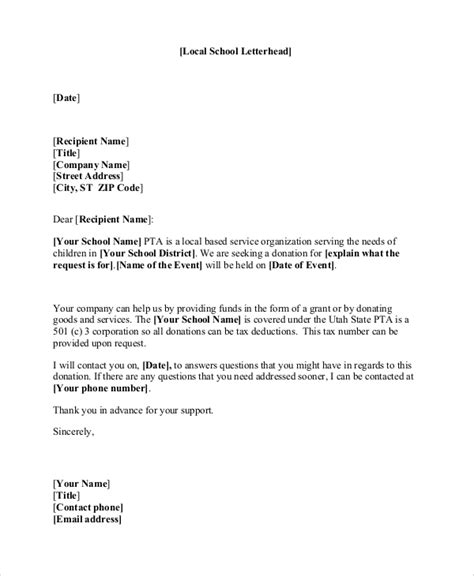 Donation Letter Template For Schools by Sle Letter Asking For Donations For School