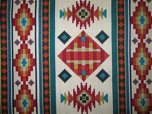 Navajo Beaded Like Floral Cream Border Print Cotton Fabric ...