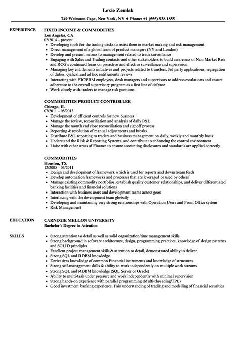 Commodities Resume Samples | Velvet Jobs