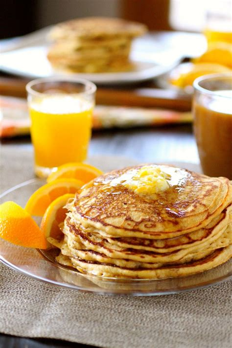 Whole Wheat Buttermilk Orange Pancakes (with Orange Butter