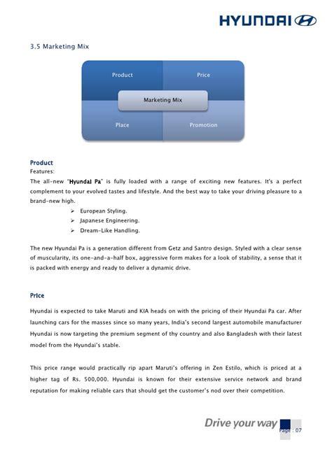 Hyundai Marketing by A Marketing Plan On Hyundai Pa Car