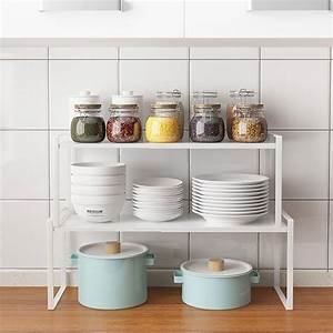 Space, Saving, Rack, Stackable, Kitchen, Shelving, Organizer, Rack, Shelf, Adjustable, Kitchen, Cabinet