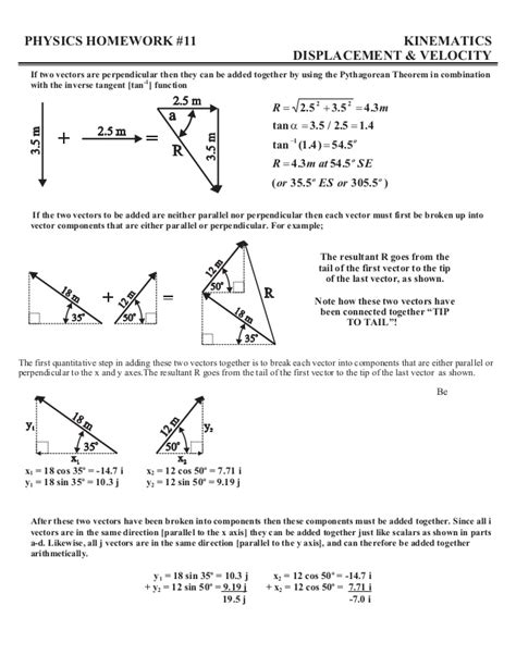 Component Method Of Vector Addition Worksheet With Answers  Addition Of Forcesadding And