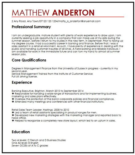 Aspiration Letter Exle Resume by Cv Exle For A Part Time Myperfectcv