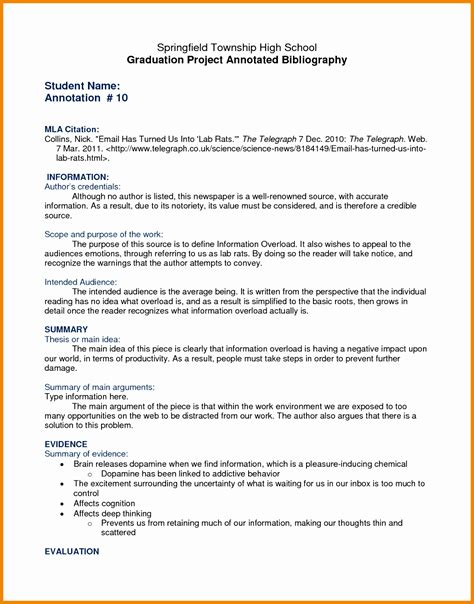 bibliography template brilliant ideas of 5 mla format annotated bibliography exle printable mla format with how to