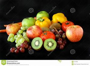 Bunch Of Fruits On Black Background Stock Photo