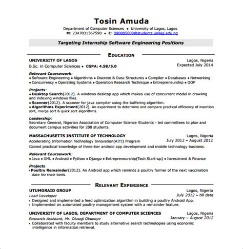 android developer resume templates 14 free word excel