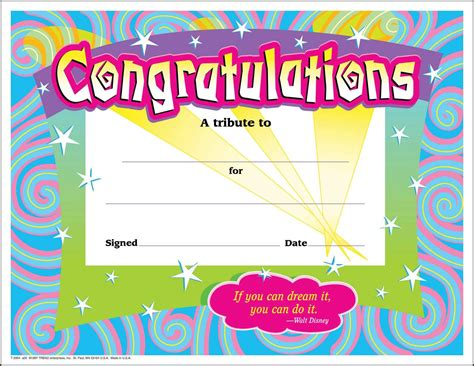 congratulations template 30 congratulations award large swirl certificate award pack by trend ebay