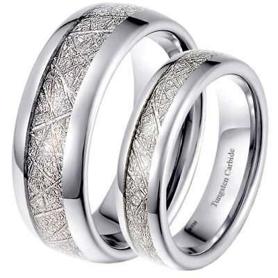 his hers matching 6mm 8mm meteorite inlay wedding engagement band ring ebay