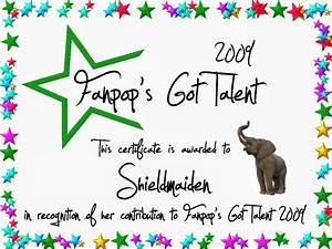 shieldmaiden certificate fanpop39s got talent photo With talent show certificate template