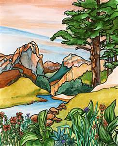 Mountain Stream and Trees Clip Art