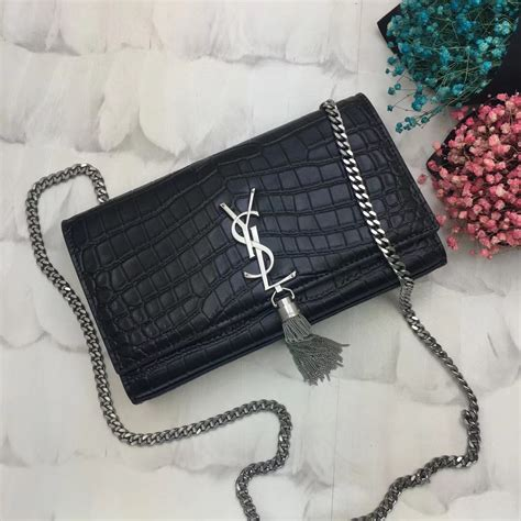 ysl tassel chain bag cm croco black silver    replica ysl