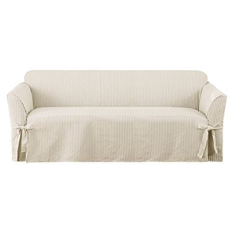 ticking stripe sofa slipcover sure fit ticking stripe 1 piece sofa slipcover dove