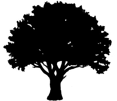 oak tree clipart black and white silhouette graphics