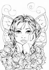 Coloring Adult Pages Fairy Colouring Therapy Woman Books Sheet Doodle Sold Etsy sketch template