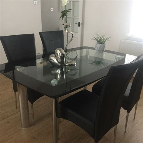 Kitchen Table And Chairs Gumtree Tyne And Wear by Smoked Glass With Black Glass Edge Dining Table Two Tiers