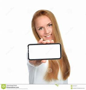 Business Woman Show Blank Card Or Mobile Cell Phone Stock ...