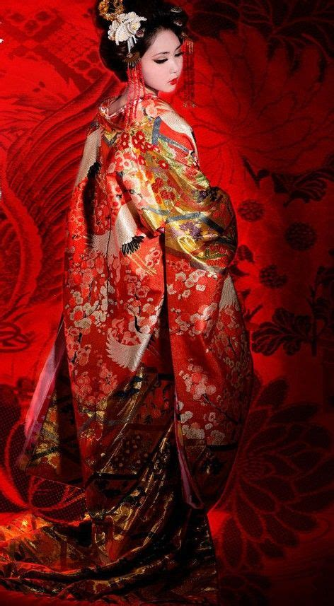 Traditional Japanese Wedding Kimono by Traditional Embroidered Cranes Japanese Wedding Kimono And
