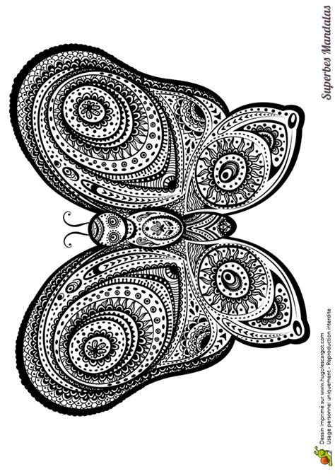 Coloriage D'un Superbe Mandala De Papillon Géant