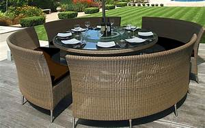 Patio table mezzo round for Round patio table sets