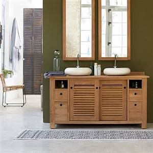 meuble pour salle de bain en teck meubles coline duo sous With meuble de salle a manger avec armoire en teck