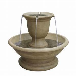 Shop garden treasures fountain 2 tier outdoor fountain for Garden fountains lowes