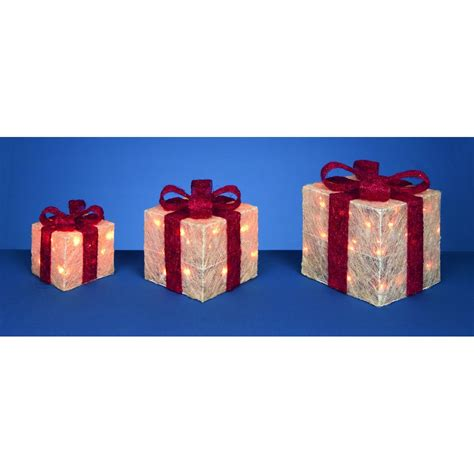 premier decorations 3 led white glitter parcels with red
