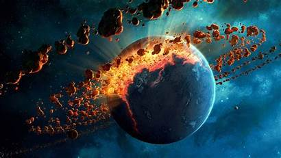 Explosion Asteroid Wallpapers Space Resolution 4k Planet