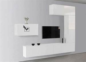 Meuble Tv Suspendu Blanc : meuble tv suspendu blanc laqu meuble tv avec rangement pas cher newbalancesoldes ~ Teatrodelosmanantiales.com Idées de Décoration