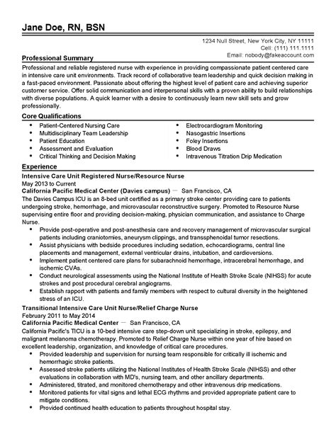 Icu Charge Resume Sle by Professional Icu Rn Resume Sle 28 Images Army Nursing