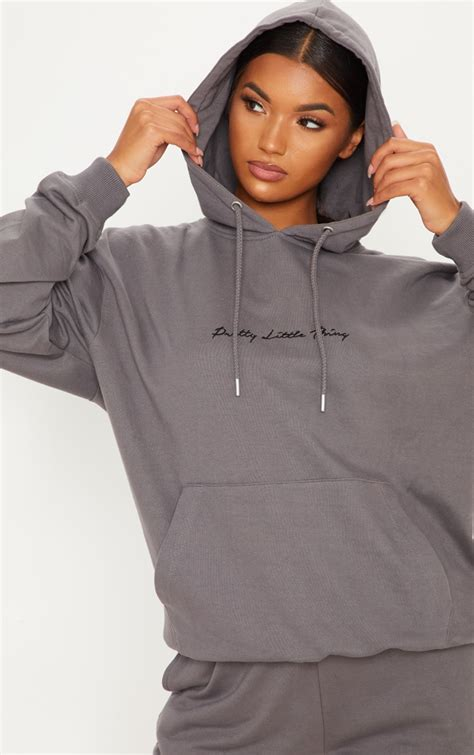 Plt Charcoal Embroidered Oversize Hoodie   PrettyLittleThing