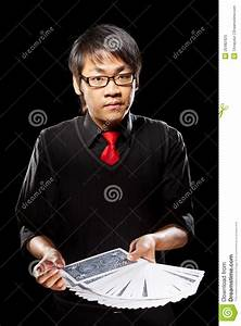 Asian Magician With Cards Royalty Free Stock Photo - Image ...