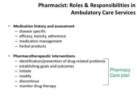 Pharmacist Responsibilities by Hospital Pharmacy Lecture Five