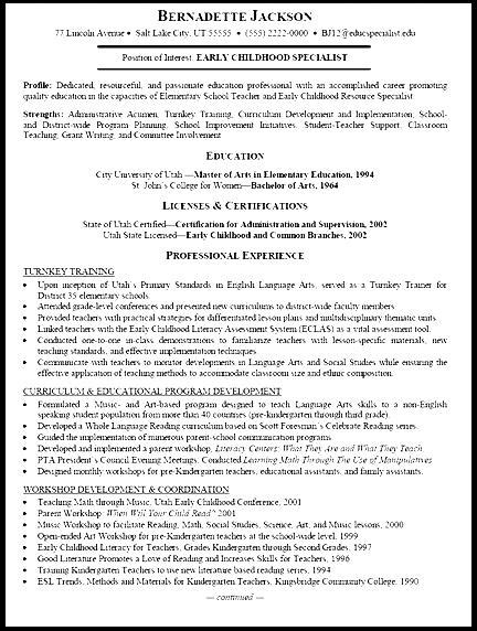 Free Sle Resume Early Childhood Education by Early Childhood Education Resume Free Sles Exles