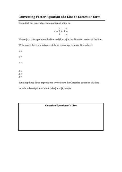 Converting vector equation of a line to cartesian form