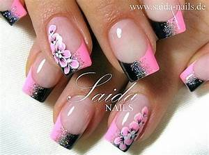 love this pink and black nail design! | Nail Frenzy ...
