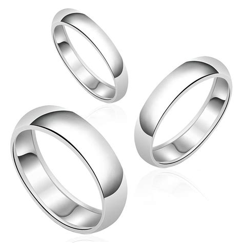 authentic plain wedding band solid 925 sterling silver ring womens mens ebay